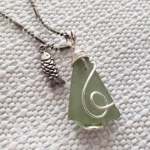 Green Seaglass necklace with fish charm silver